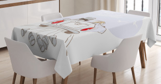 Retro Married Couple Car Tablecloth