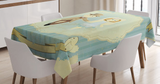 Bride Groom Pigeons Tablecloth