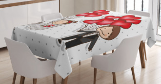 Funny Newlyweds Balloons Tablecloth