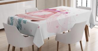 Bride Groom Hearts Cans Tablecloth