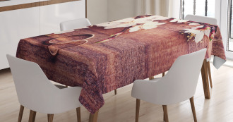 Flowers Rings Wooden Tablecloth