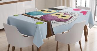 Cartoon Married Couple Fun Tablecloth
