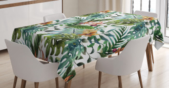 Palm Tree Flowers Hibiscus Tablecloth