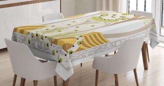 Magic Kitty Ethnic Ornate Tablecloth