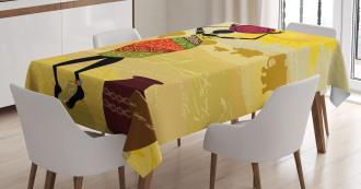 Elephants Sun Art Tablecloth