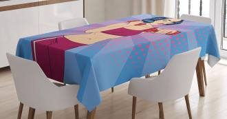 Pop Art Woman Vitality Tablecloth