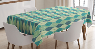 Oval Curved Lines Dots Tablecloth
