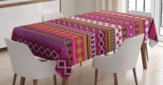 African Motifs Folk Border Tablecloth