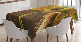 Autumn Scenery Roadway Tablecloth