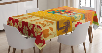 Old Travel Cards Tablecloth