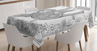 Outline Drawing Jungle Tablecloth