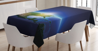 Earth Tablecloth Sunrise North America Printed Table Cover