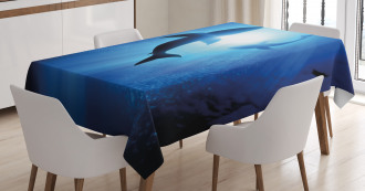 Fishes Circling in Ocean Tablecloth
