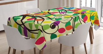 Happy Birds Colorful Tree Tablecloth