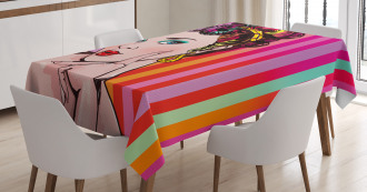 Blue Eyed Woman Pop Art Tablecloth