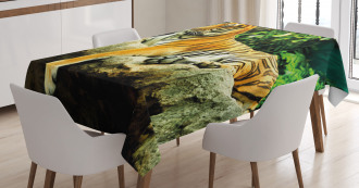 Big Cat Resting in Forest Tablecloth