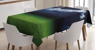 Green Grass Fluffy Clouds Tablecloth
