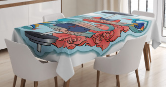 Quote Flowers Barbell Tablecloth