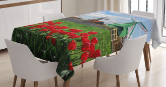 Red Color Tulips Field Tablecloth