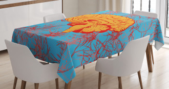 Orange Human Brain Tablecloth