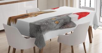 Cat Dog Xmas Hats Tablecloth
