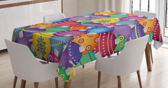 Colorful Xmas Balls Tablecloth