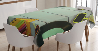 Eighties Objects on Table Tablecloth