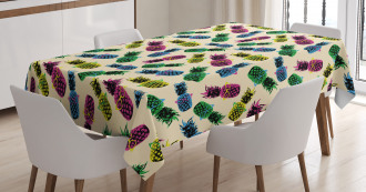 80s Vibrant Pineapple Tablecloth