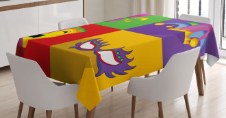 Colorful Frame Icons Tablecloth