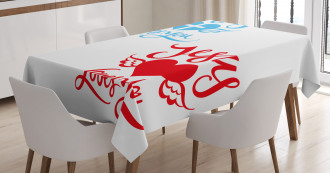 He Loves You Calligraphy Tablecloth