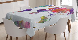 Colorful World Map Tablecloth