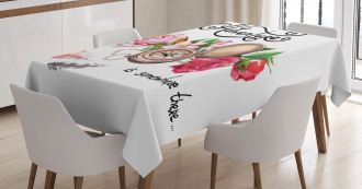 Old Compass Flowers Tablecloth