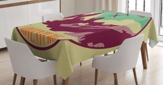 Trekking Camping Art Tablecloth