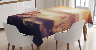Traveler Woman Sunset Tablecloth