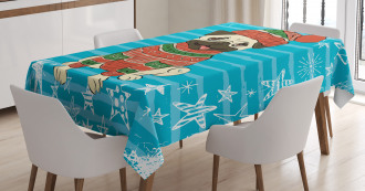 Happy Dog in Winter Clothes Tablecloth