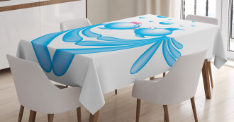 Blue Cartoon Fishes Heart Tablecloth