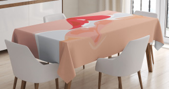 Close Up View Lovers Kiss Tablecloth