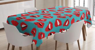 Retro Woman Red Lipstick Tablecloth