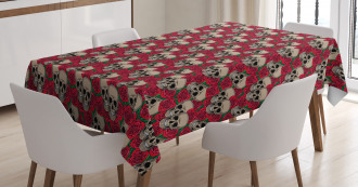 Skulls Red Blossoms Retro Tablecloth