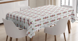 Tribal Ornaments and Arrows Tablecloth