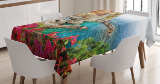 Cinque Terre Beach Coast Tablecloth
