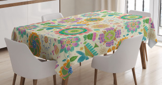 Childish Caricature Lines Tablecloth