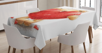 Romantic Mascot Red Heart Tablecloth