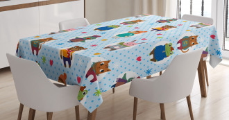Animals Winter Clothing Tablecloth