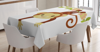 Cartoon Monkey on Liana Tablecloth
