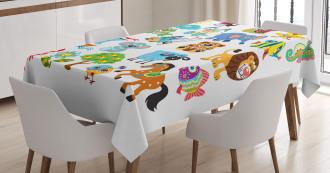 Various Animal Figures Tablecloth