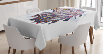 African Watercolor Folk Tablecloth