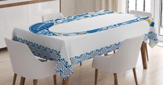Azulejo Motifs Initial Tablecloth