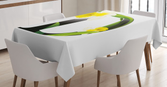 D Silhouette Daffodils Tablecloth
