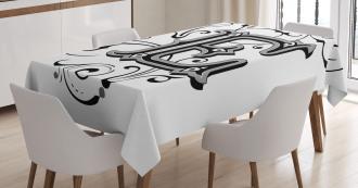 Capitaized Sign Swirls Tablecloth